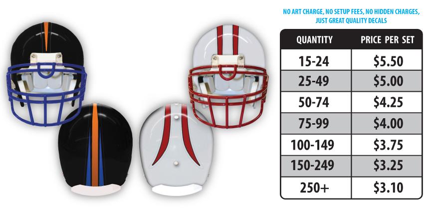 Football Helmet Specialty Stripes