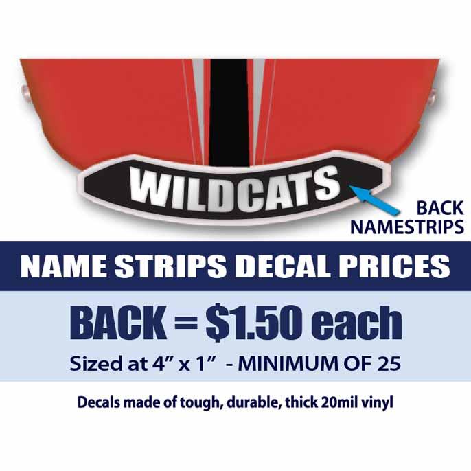 Back Name Strips Helmet Decals Business Art DeSigns - Helmet decalsfootball helmet decals business art designs