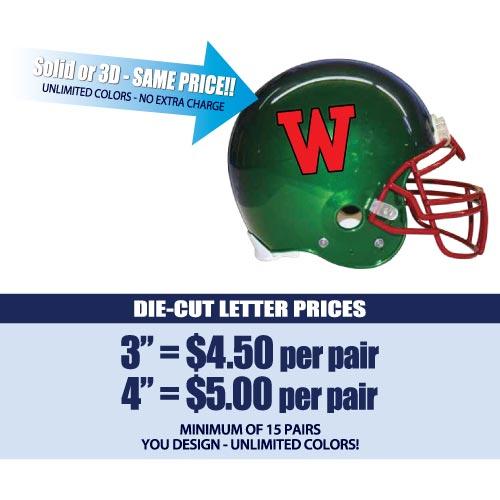 DieCut Letters Helmet Decals Business Art DeSigns - Helmet decalsfootball helmet decals business art designs