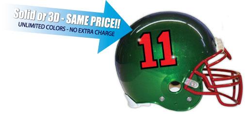 Die-Cut Numbers Helmet Decals