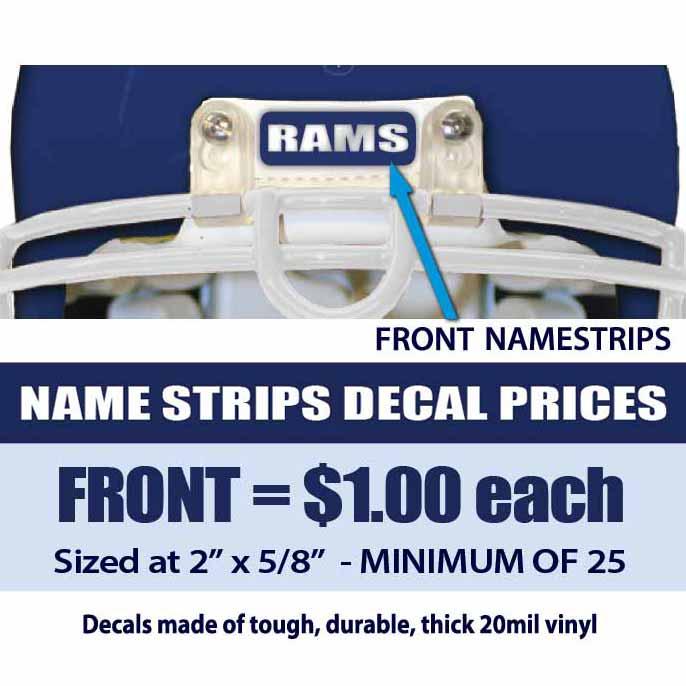 Front Name Strips Helmet Decals Business Art DeSigns - Helmet decalsfootball helmet decals business art designs