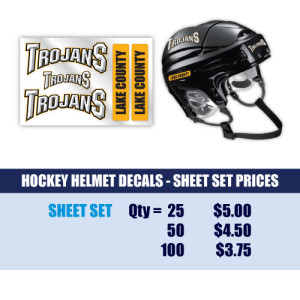 Hockey Helmet Sheet Set Decals