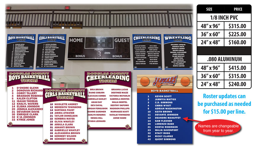 Roster Board Signs